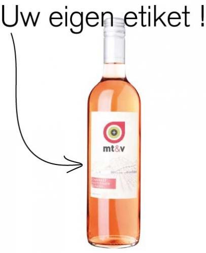 Rosé wijnfles met etiket